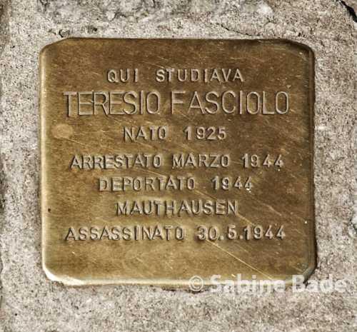 Stolperstein Turin - Teresio Fasciolo, Foto: © Sabine Bade