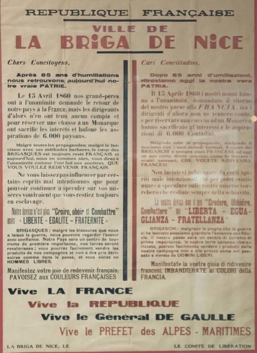 zweisprachiger Aufruf für den Anschluss an Frankreich - Kollektion Armand Oliviero